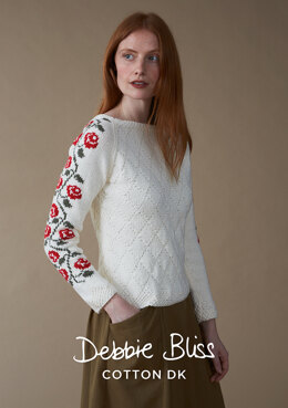 Fleur Sweater in Debbie Bliss Cotton DK- DB241 - Downloadable PDF
