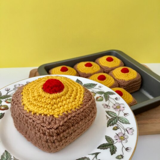 Crocheted pineapple upside down cake