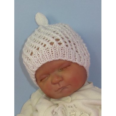 Baby Simple Lace Stitch Topknot Skullcap Hat