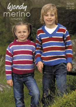 Round and V Neck Stripe Sweaters in Wendy Merino Chunky - 5646