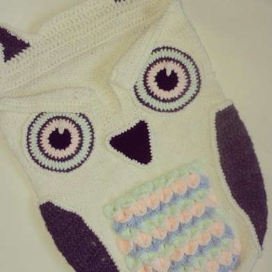 Baby Cocoon with Owl Crochet Details