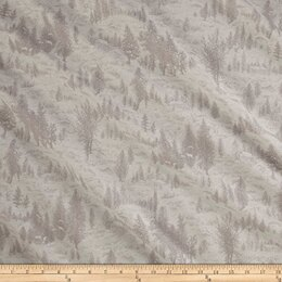 Moda Fabrics Forest Frost Glitter II Winter Metallic Snowy Village Natural