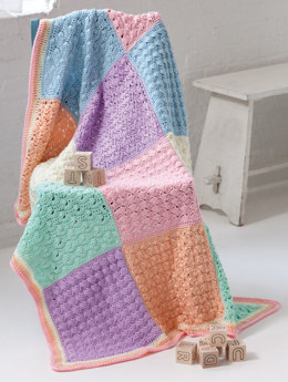 Sampler Squares Baby Blanket in Caron Simply Soft - Downloadable PDF