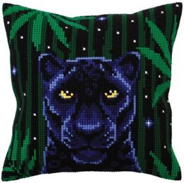 Collection D'Art Night Jungle Panther Cross Stitch Cushion Kit - 40cm x 40cm