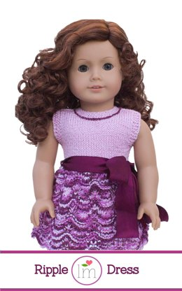 Ripple summer dress for 18 inch dolls. Doll clothes knitting pattern