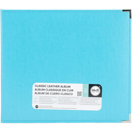 """We R Memory Keepers We R Classic Leather D-Ring Album 12""""X12"""" - Aqua"""