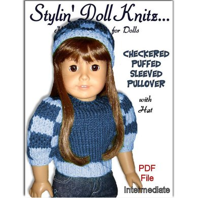 Fits American Girl Doll, 18 inch doll, Chechered Puffed Sleeves with Hat.