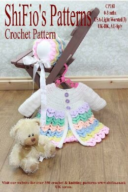 Crochet Pattern crocodile stitch baby jacket UK & USA Terms #181