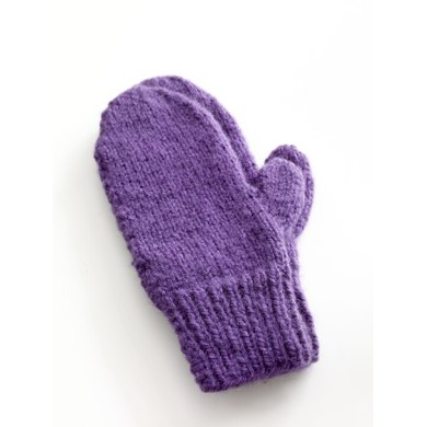Knitting Patterns Mittens Easy : Easy-Knit Mittens in Lion Brand Jiffy - 80672AD Knitting Patterns LoveKni...