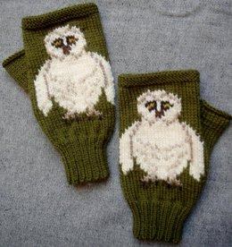 Barn Owl fingerless gloves/mitts