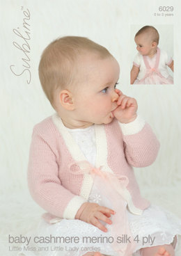 Little Miss and Little Lady Cardigans in Sublime Baby Cashmere Merino Silk 4Ply - 6029