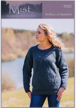Ladies Diamond Lace Sweater in Twilleys Mist DK