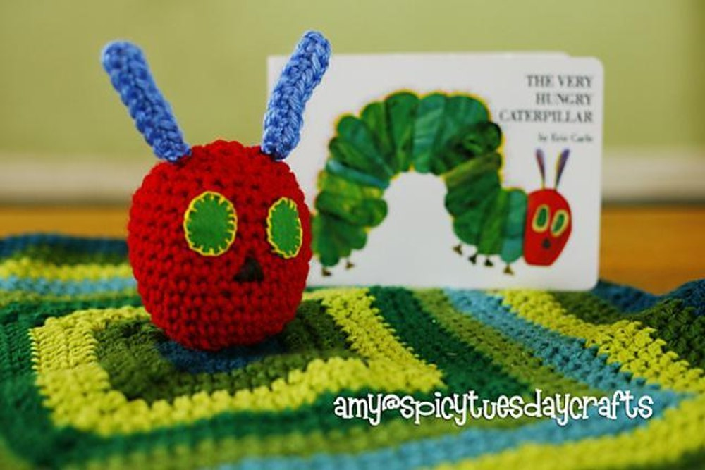 Knitting Pattern For Very Hungry Caterpillar Toy : Hungry Caterpillar Blanket Buddy striped Crochet pattern by Spicy Tuesday C...