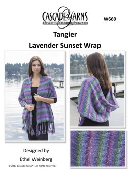 Lavendar Sunset Wrap in Cascade Yarns Tangier - W669 - Downloadable PDF