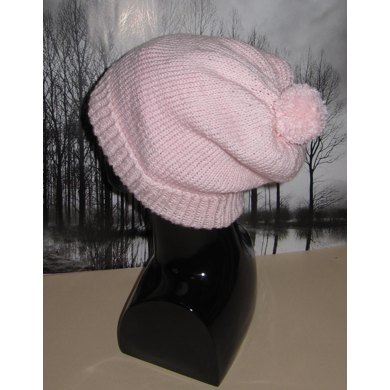 Simple Bobble Slouch Hat
