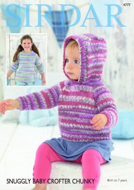 0108a2ae1 Hooded and Round Neck Sweaters in Sirdar Snuggly Baby Crofter Chunky ...