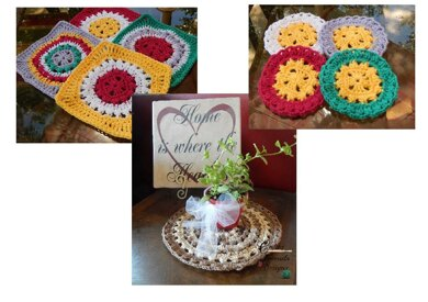 Fun In The Sun Granny Square Coaster Mat