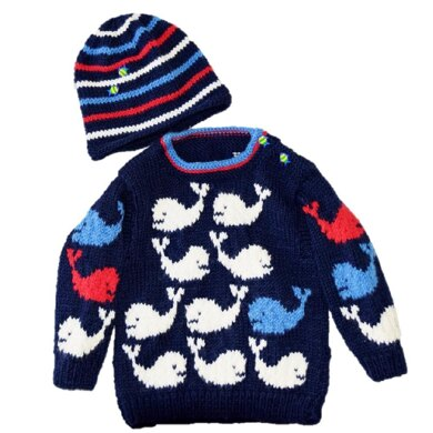 Pod of Whales Baby Sweater and Hat