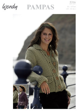 Moss Stitch Jacket with Zip or Button Fastening in Wendy Pampas Mega Chunky - 5316