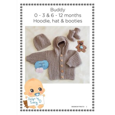 Buddy baby hoody knitting pattern 0-3mths & 6-12mths