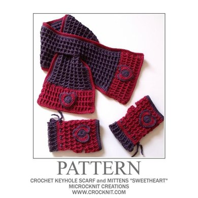 Crochet Keyhole Scarf And Mittens Sweetheart Crochet Pattern By