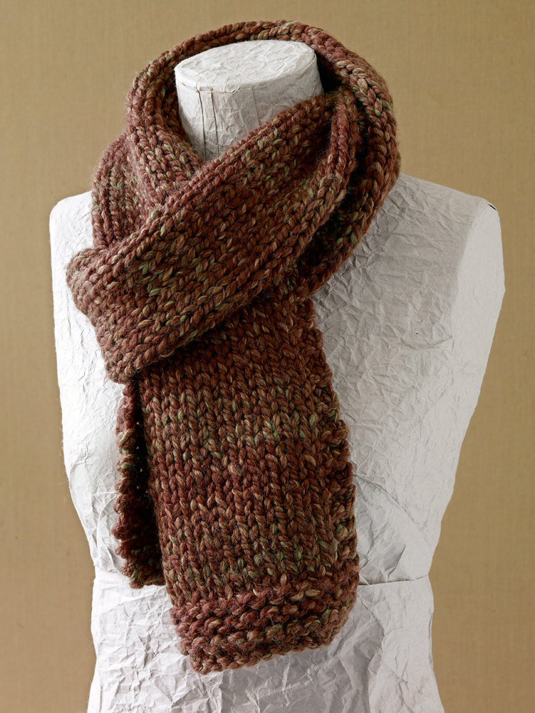 Easy Scarf Knitting Patterns For Men : Basic Scarf in Lion Brand Wool-Ease Thick & Quick - L0411B Knitting Pat...