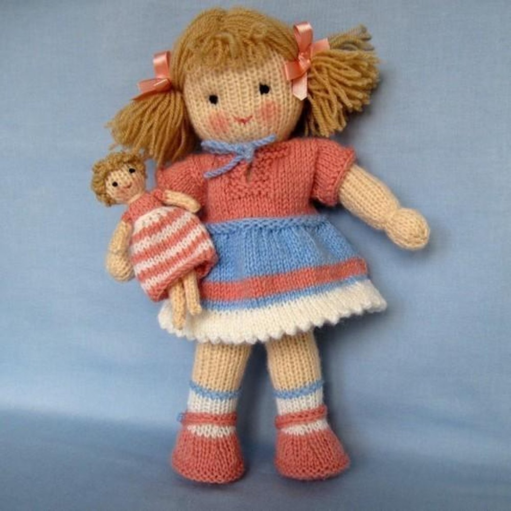 Red Heart Free Knitting Patterns For Dolls : Lulu - Knitted Doll Knitting pattern by Dollytime ...