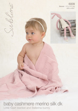 Little Heart Blanket and Ballerina Bunny in Sublime Baby Cashmere Merino Silk DK - 6009