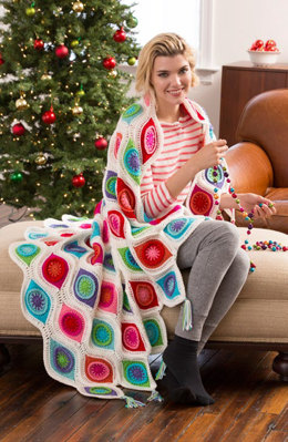 Retro Ornament Throw in Red Heart Super Saver Economy Solids - LW4869 - Downloadable PDF