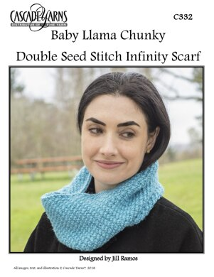 Double Seed Stitch Infiinty Scarf In Cascade Baby Llama Chunky