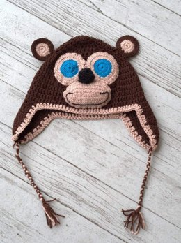 Crochet Monkey Hat in Plymouth Yarn Yarnimals - F657